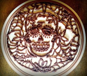dia de los muertos pumpkin cake with cream cheez frosting and date caramel