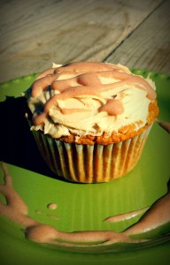 pumpkin cupcake with cream cheez frosting and date caramel